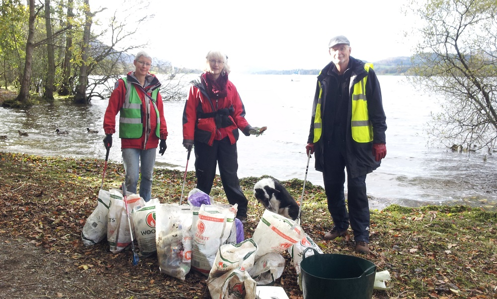 PACT collected 10 bags of litter on a 200m stretch of Ullswater in October 2017