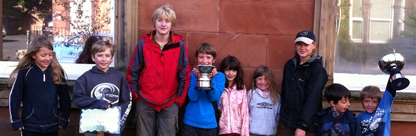 Arthur Street kids with the Cumbria in Bloom trophies