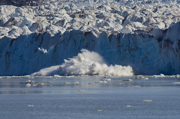 Calving and rapidly receding glacier in Svalbard (Norwegian High Arctic)