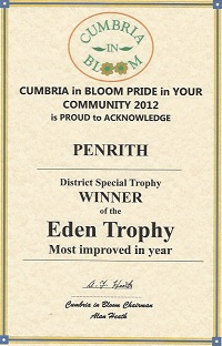 Penrith winner of Eden Trophy for most improved town at Cumbria in Bloom 2012